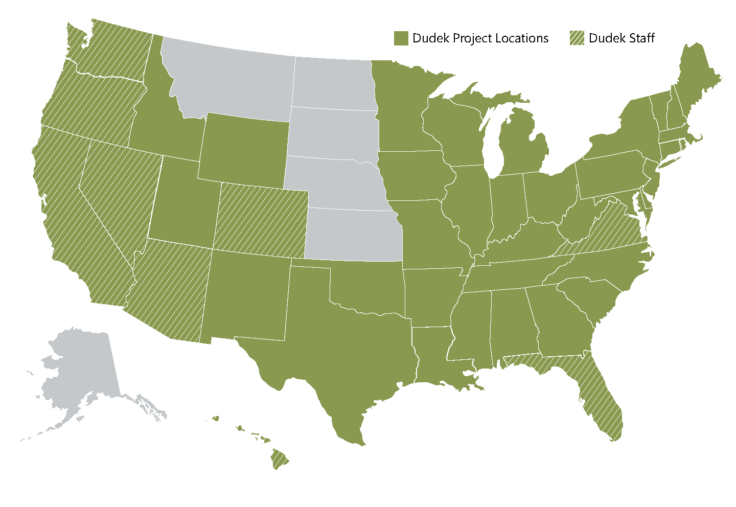 US map with all states except Montana, North and South Dakota, and Arkansas shaded green. Washington, Oregon, California, Nevada, Arizona, Colorado, Virginia, and Florida have a crosshatch overlay on top of the green shading.
