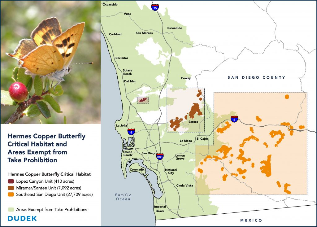 Map of San Diego County showing Hermes copper butterfly critical habitat units and areas exempt from take prohibitions. The legend reads: Lopez Canyon Unit (410 acres), Miramar/Santee Unit (7,092 acres), Southeast San Diego Unity (27,709 acres)