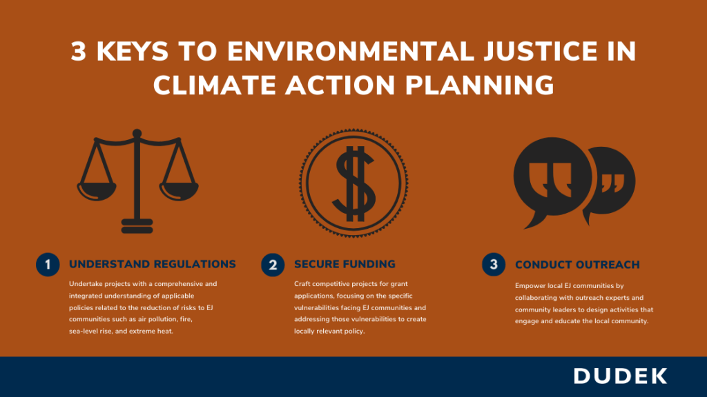 Graphic titled 3 Keys to Environmental Justice in Climate Action Planning.