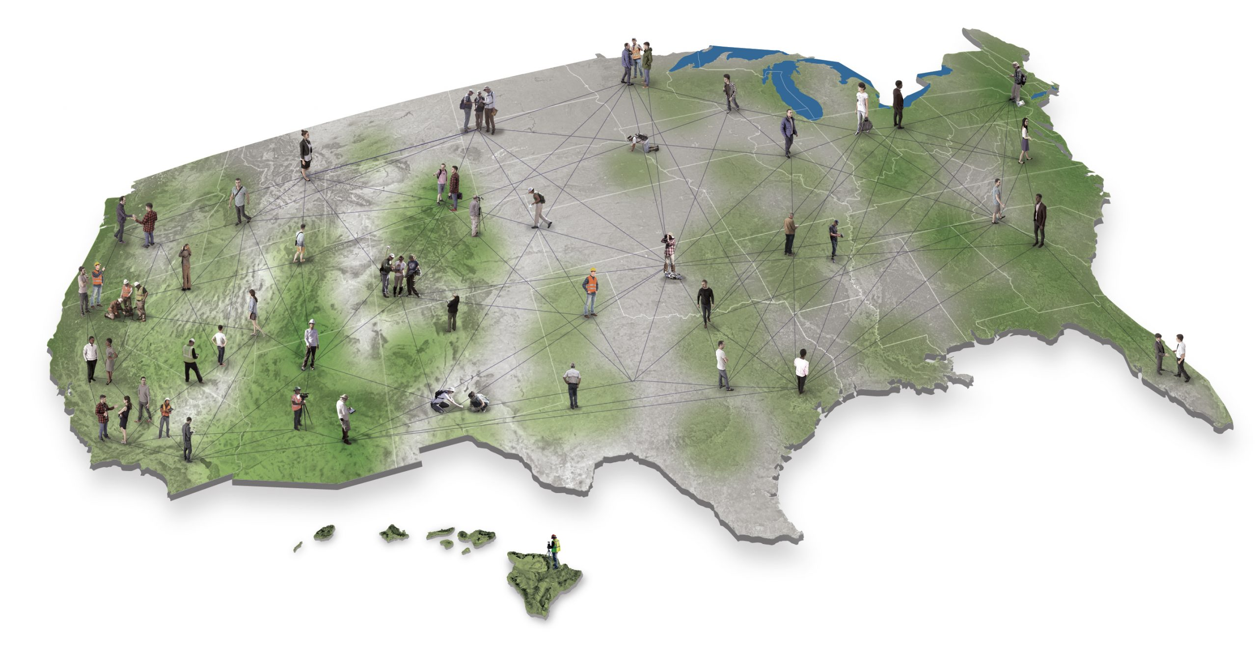 US map with green splotches and people figures distributed throughout.