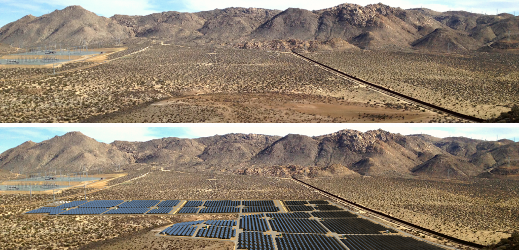 Photo simulation of a solar energy project in the desert, visualizing the results of a glare analysis.