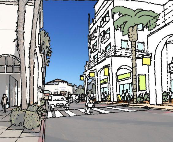 Artist's rendering of shopping center for the Mira Mesa Community Plan Update